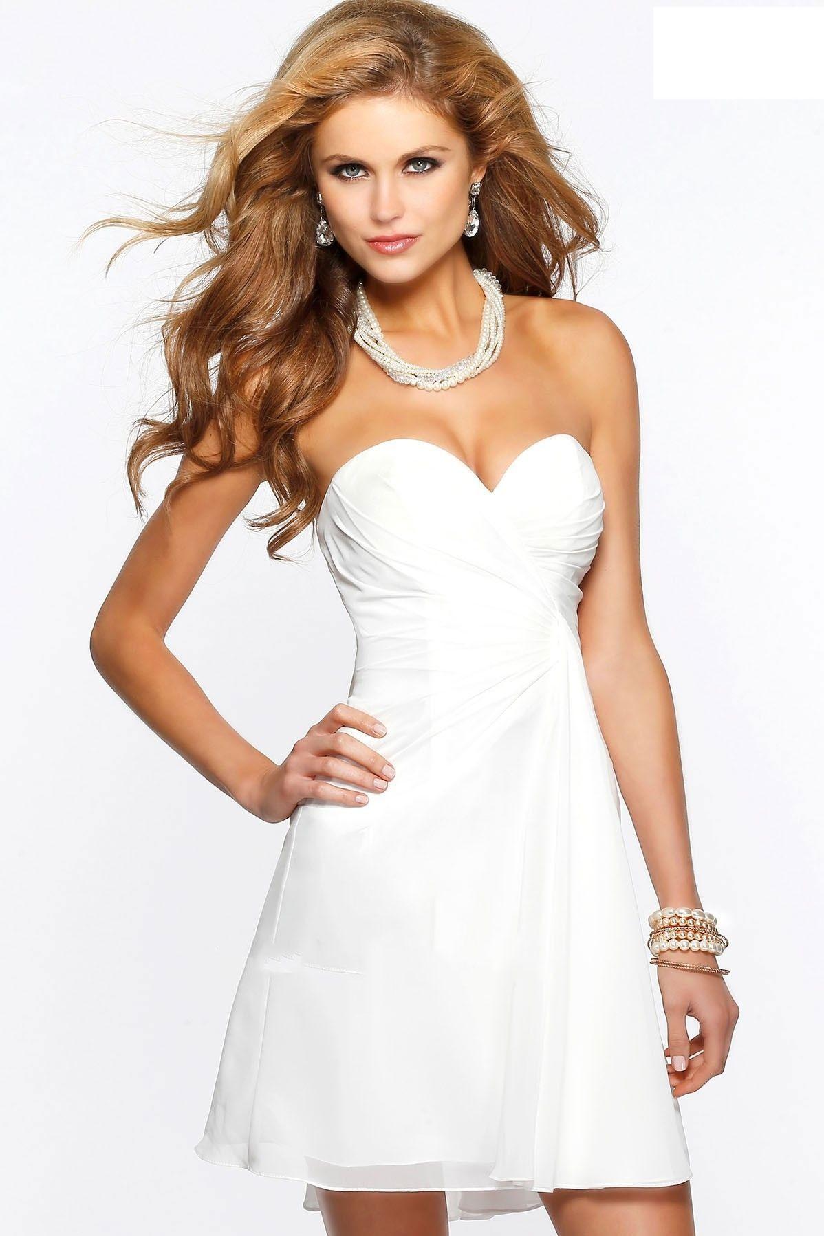 5c30a6e4fce Faviana 7075A Ivory Short Sweetheart Neck Chiffon Dress