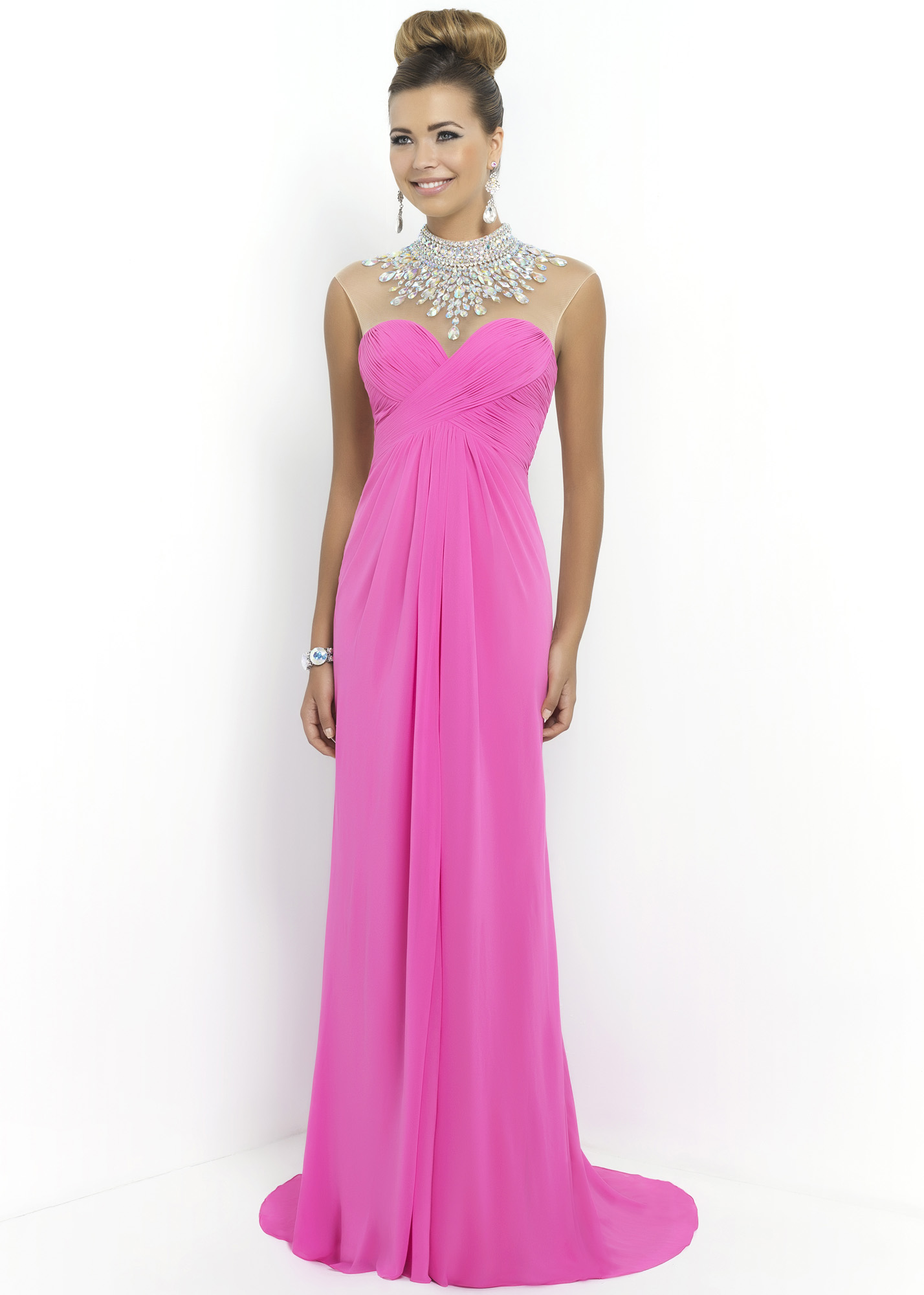 Blush 9952 - Petunia Beaded Illusion Chiffon Prom Gown - RissyRoos.com
