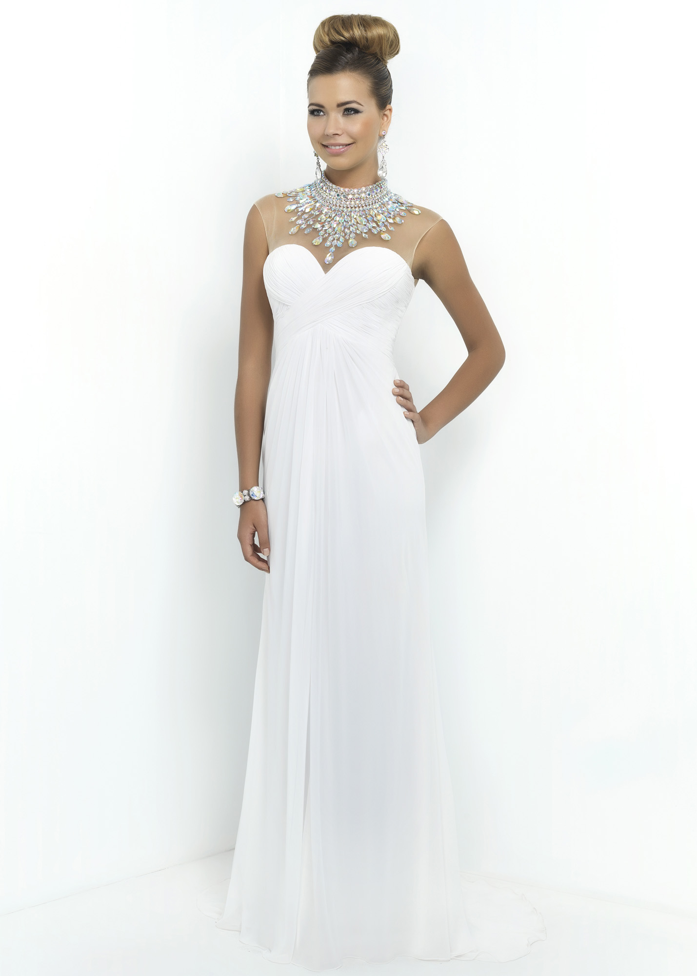 Blush 9952 - White Beaded Illusion Chiffon Prom Dress - RissyRoos.com