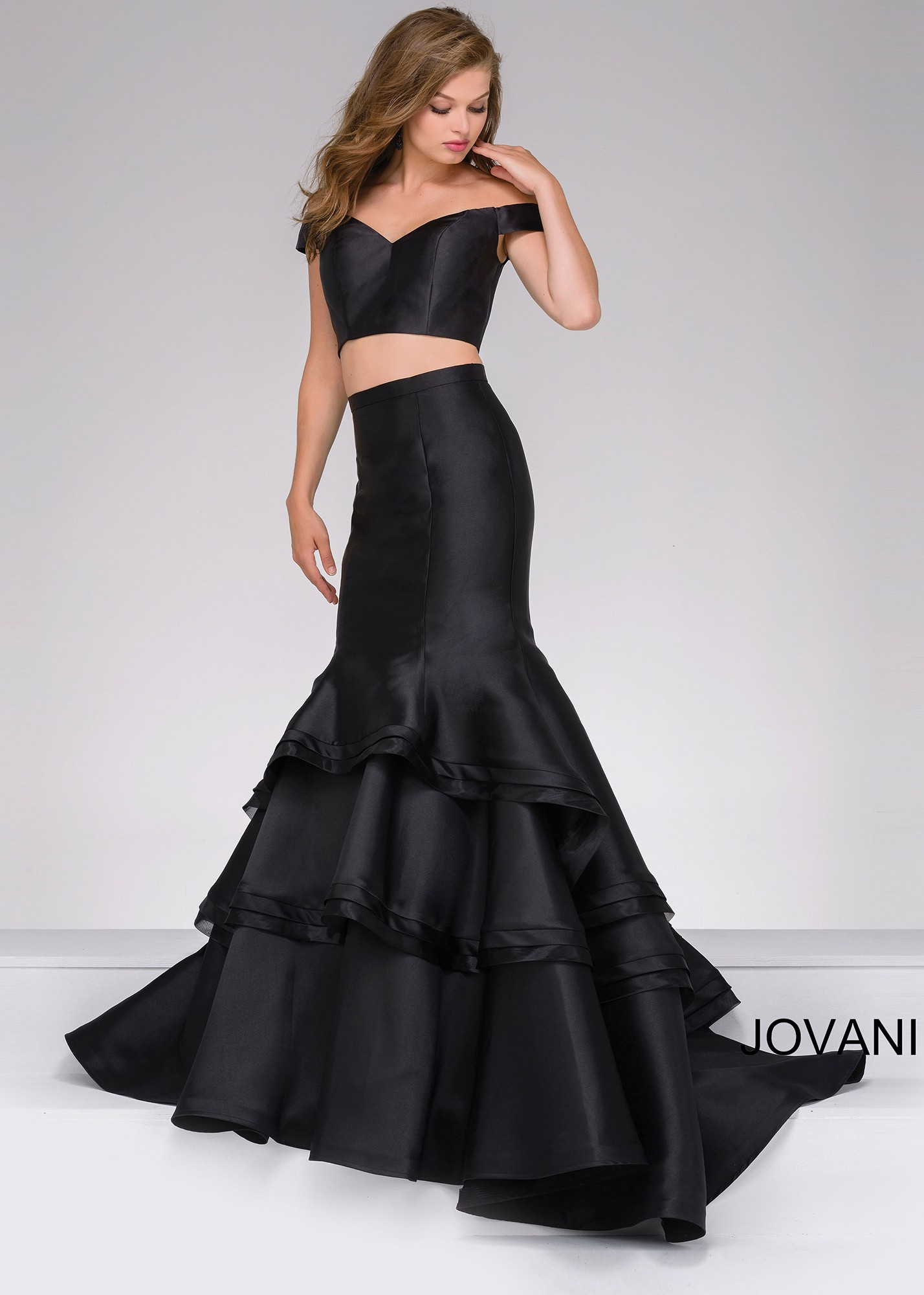 bc2b41ff4e4be Jovani 46866 Off the Shoulder Two Piece Mermaid Dress | RissyRoos.com
