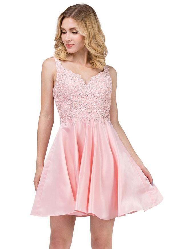 3d7662e9114 Dancing Queen 3036 V-Neck Lace Satin Short Dress