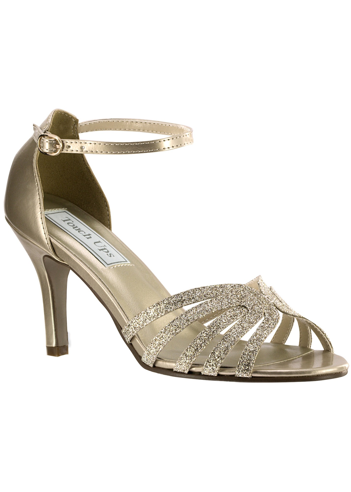 Touch Ups Rapture 4145 - Sparkly Low Heel Open Toe Sandals - RissyRoos.com 217d595e49