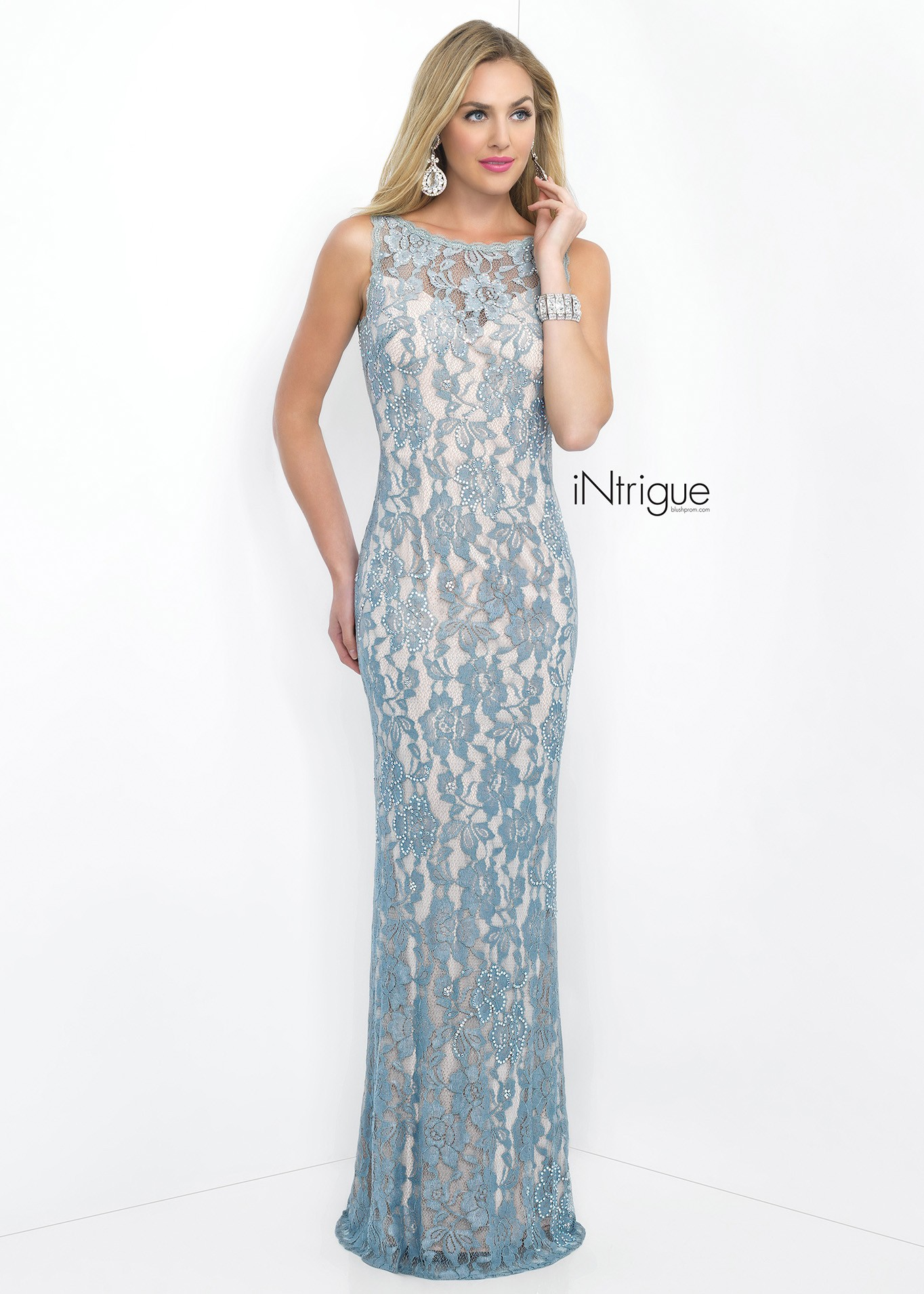 Intrigue 41 Nude Lace Evening Dress | RissyRoos.com