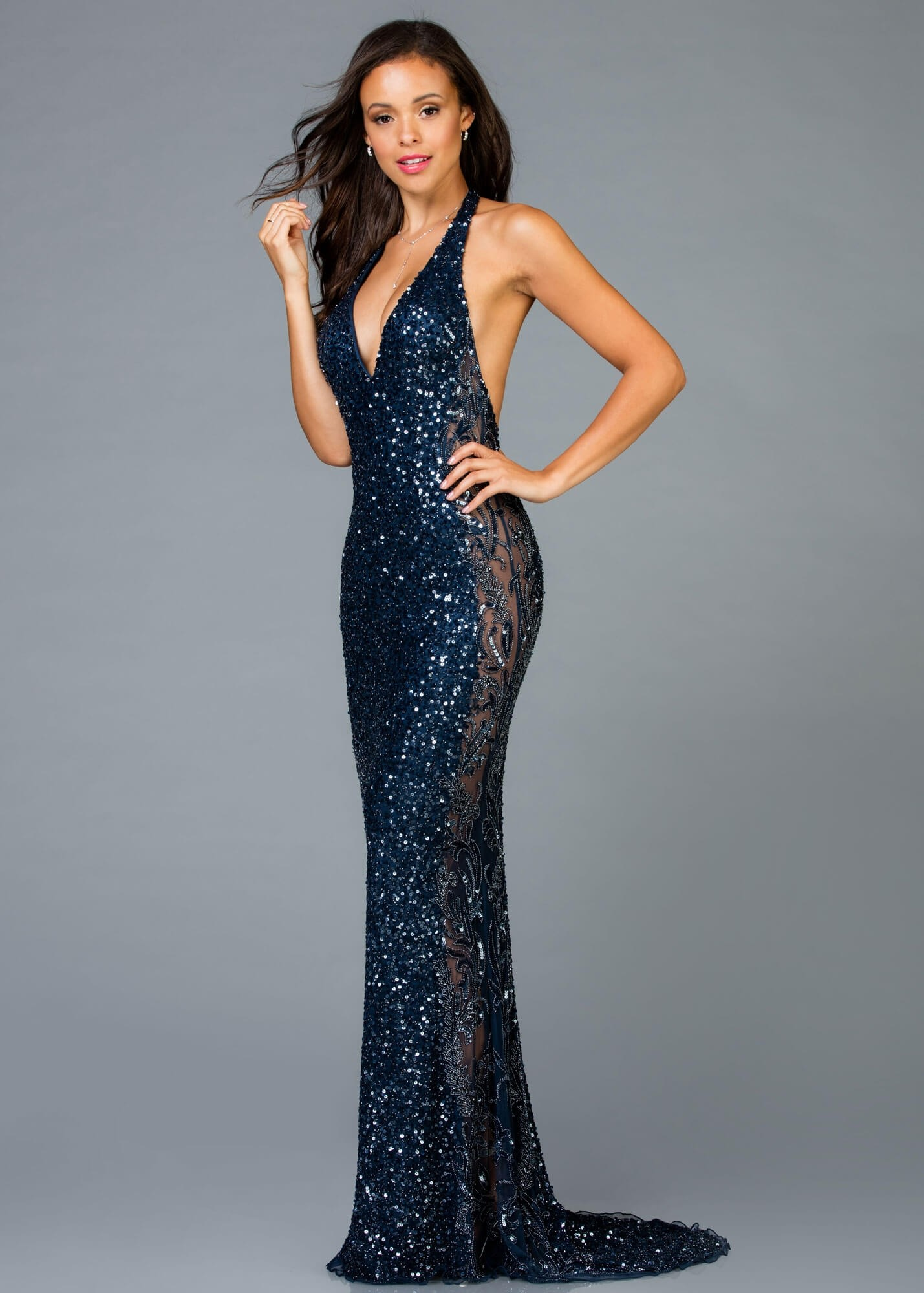 Scala 48959 Plunge Halter Gown with Illusion Sides 655c86301