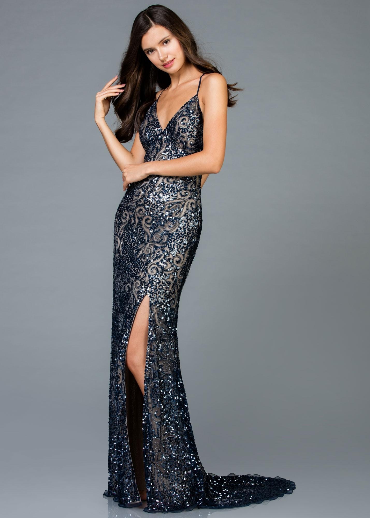 10000de5d2a Scala 48977 Open Back V-Neck Sequin Gown