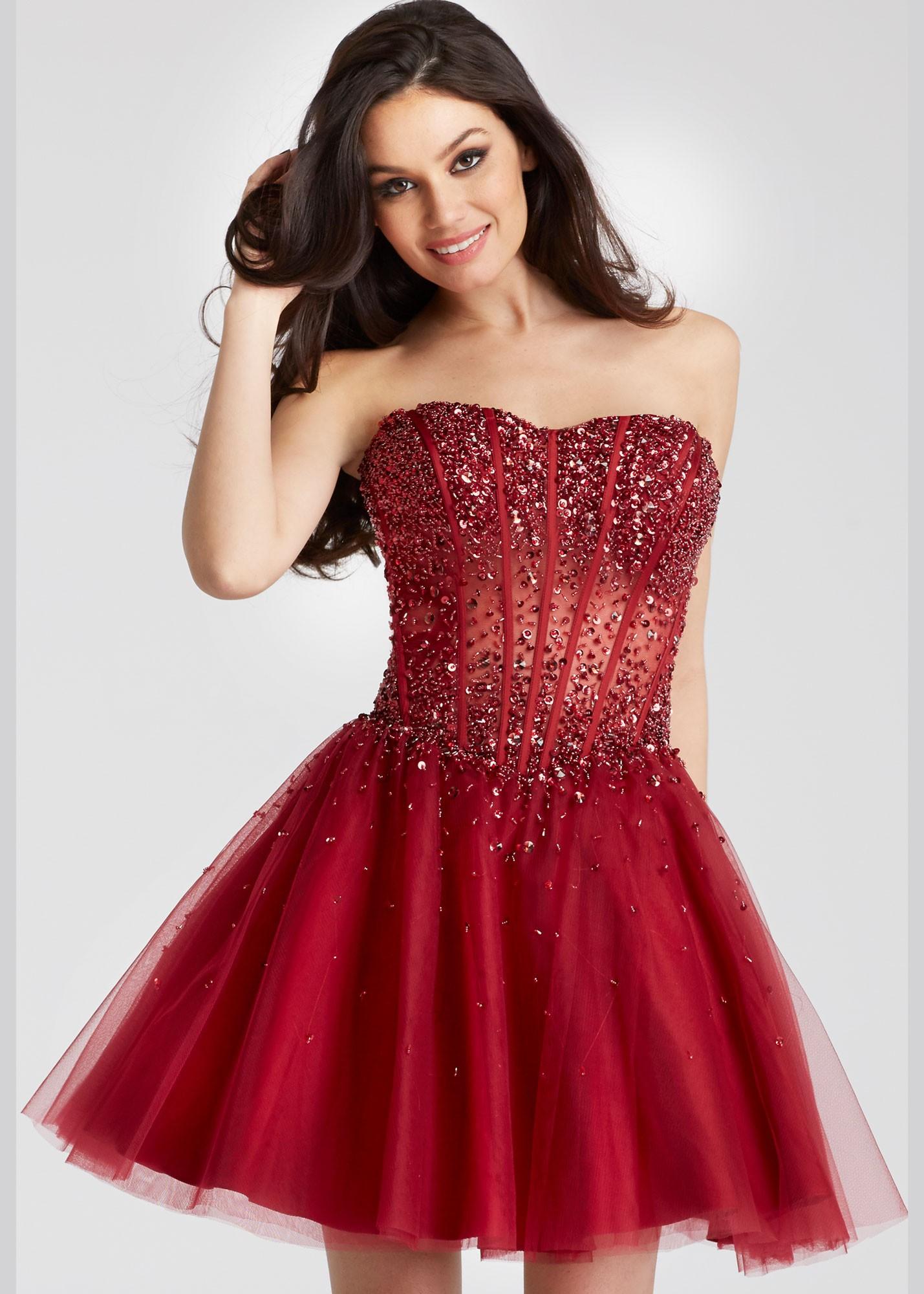 b02722c7de0e Jovani 55142 Beaded Sheer Corset Party Dress | RissyRoos.com