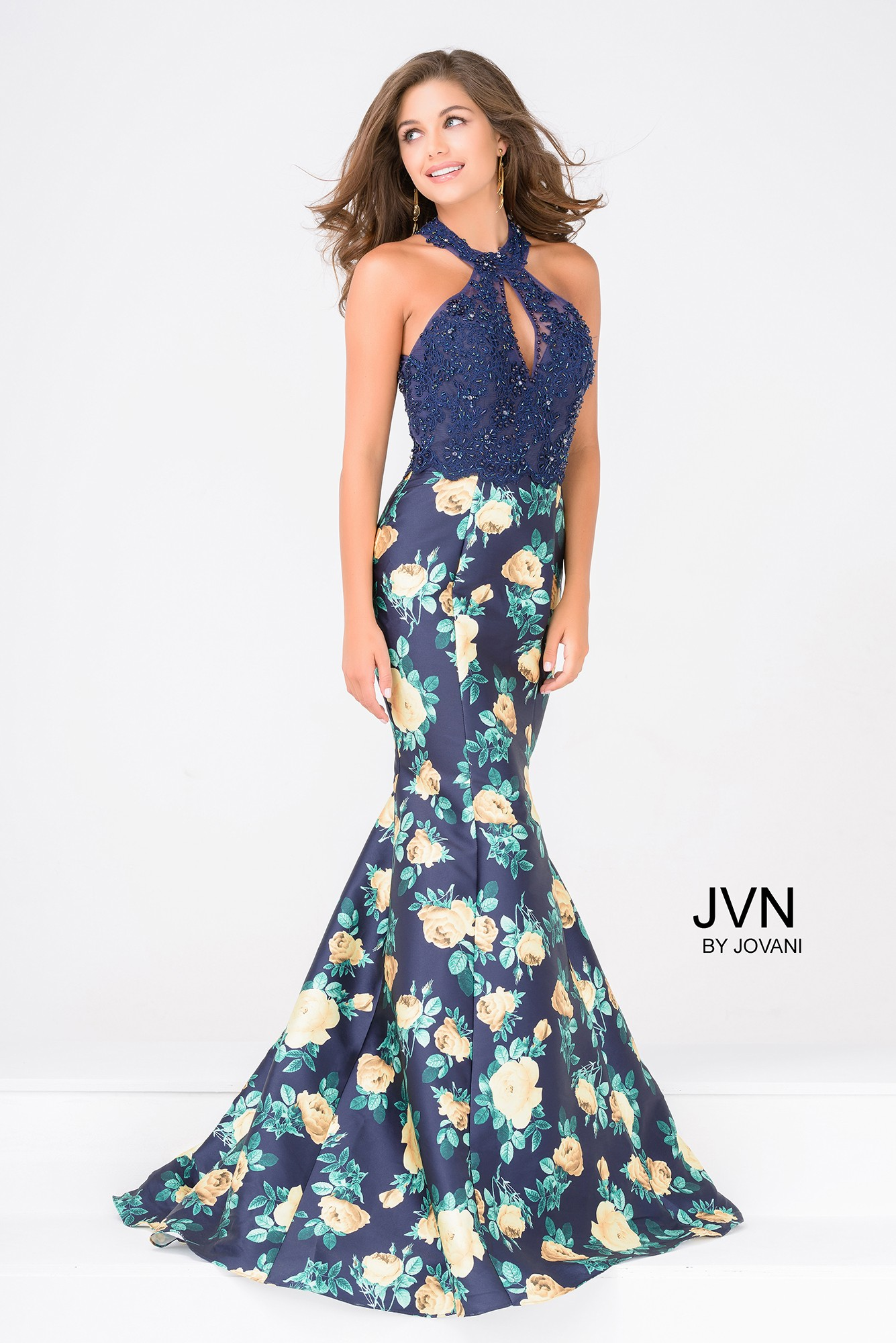 874a202f8a6e7 JVN by Jovani JVN47610 Floral Mermaid Gown with Lace Halter Top ...