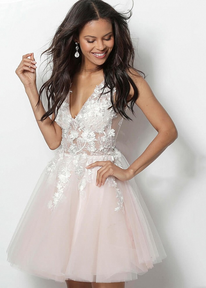 a52bd6050f Jovani 63987 Illusion Floral Applique Short Dress | RissyRoos.com