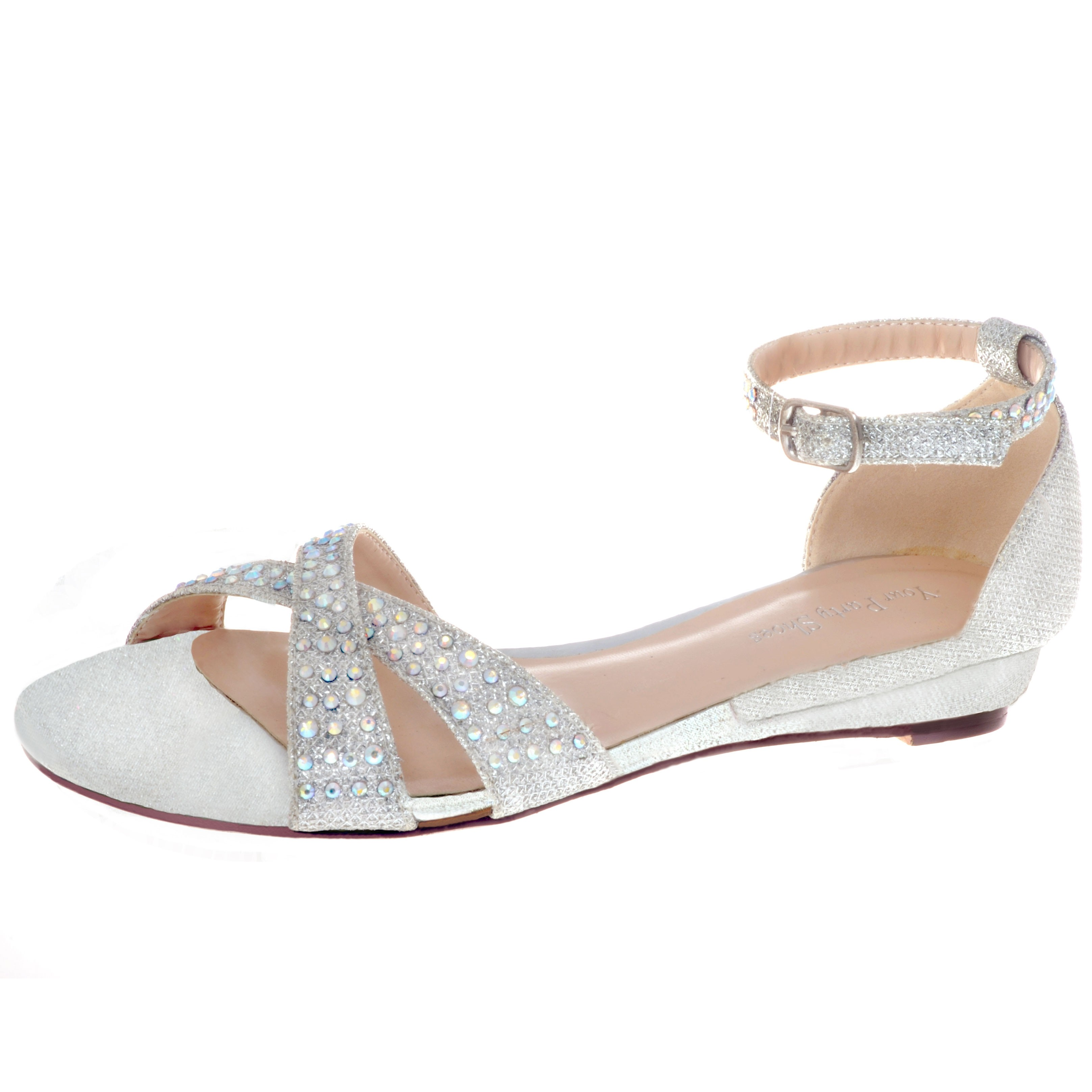 cc47c9f65232 Your Party Shoes Jeweled Ankle Strap Flat Sandal