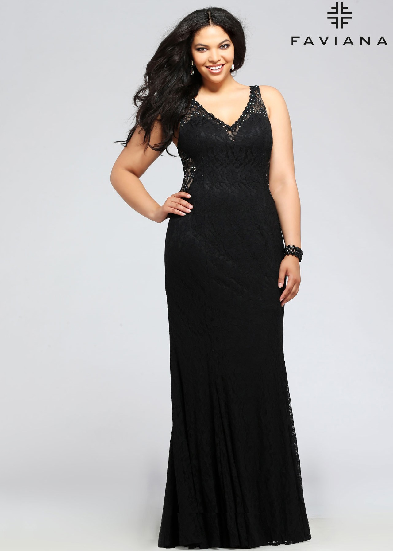 Faviana 9386 Black V-Neck Lace Plus Size Evening Dress