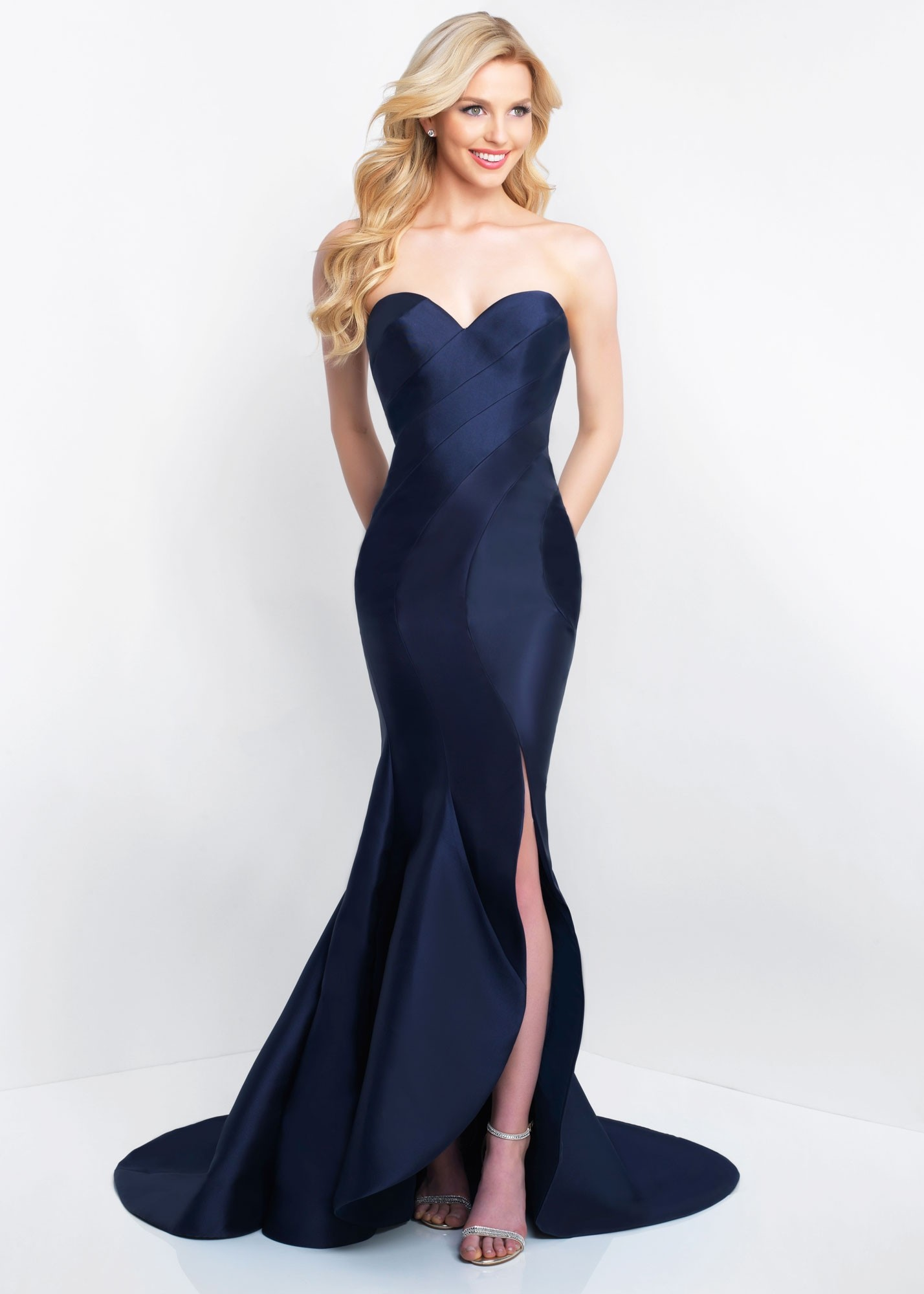 7971bd709f5 Blush Prom C1063 Strapless Asymmetrical Evening Gown | RissyRoos.com