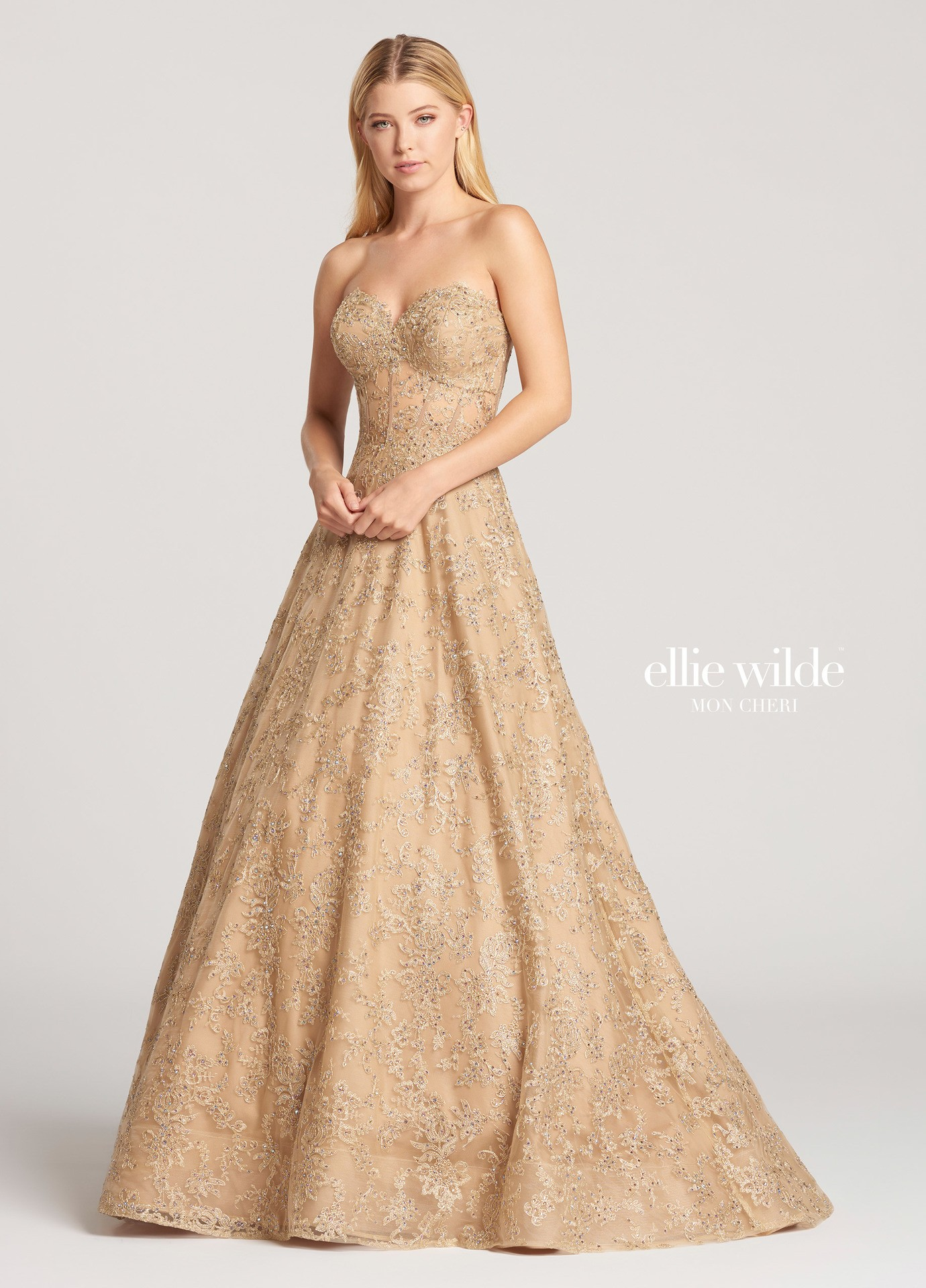 Ellie Wilde EW118125 Metallic Lace Corset Ball Gown | RissyRoos.com