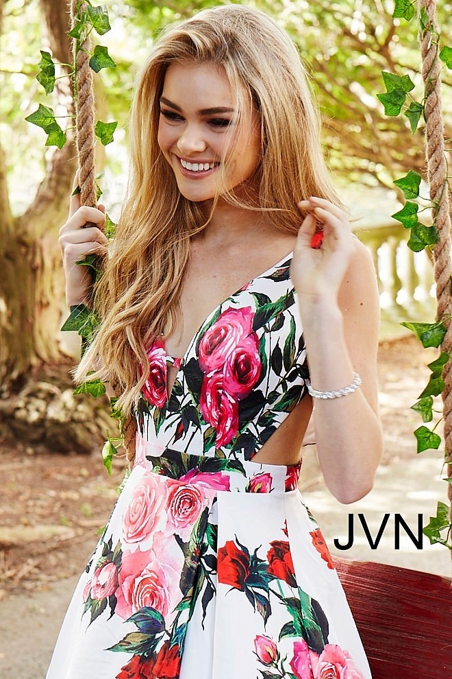 866539ed2b JVN by Jovani JVN59146 Floral Multi A-line with Side Cut-Outs ...