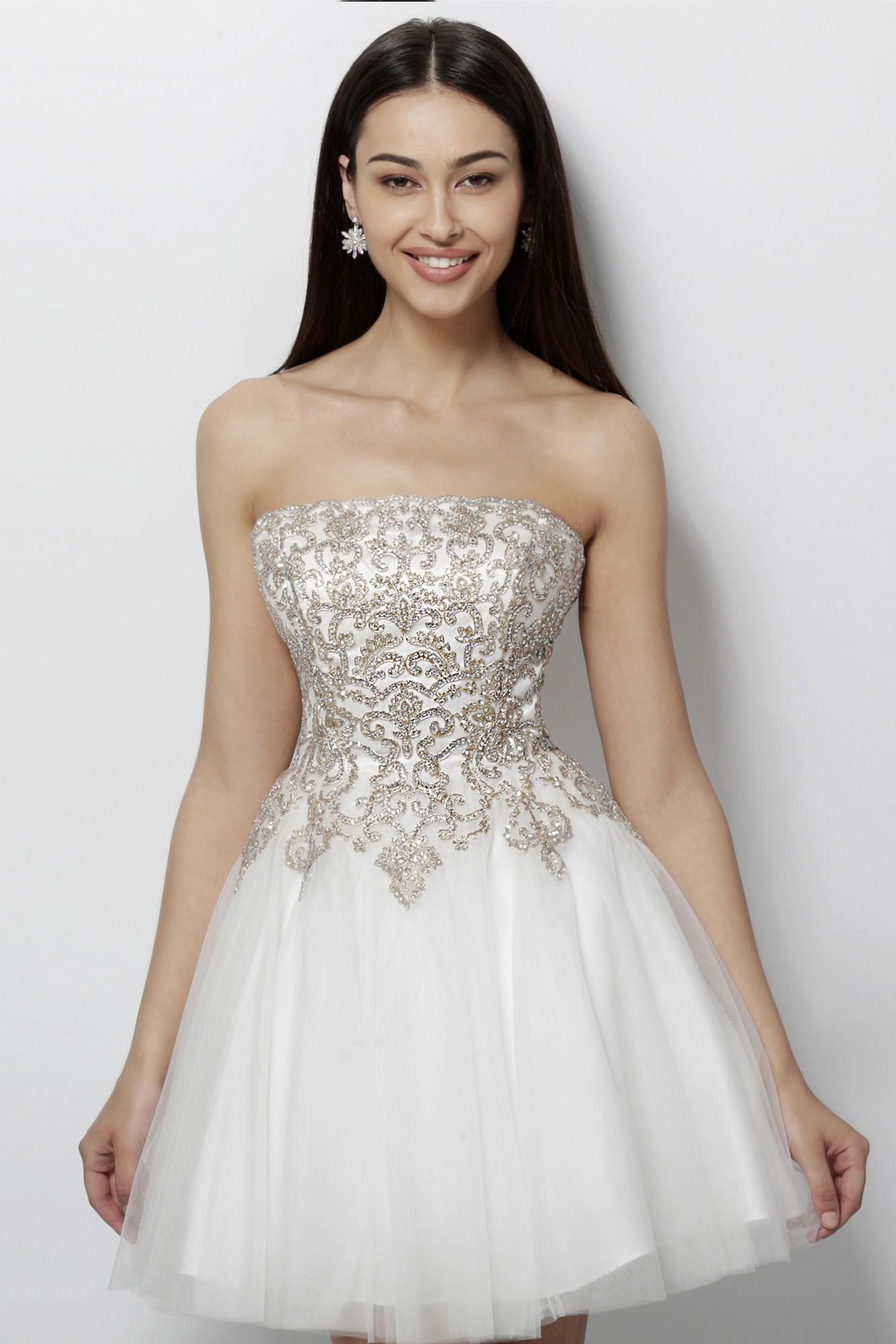 7923675ee536 JVN by Jovani JVN63635 Strapless Short Dress | RissyRoos.com