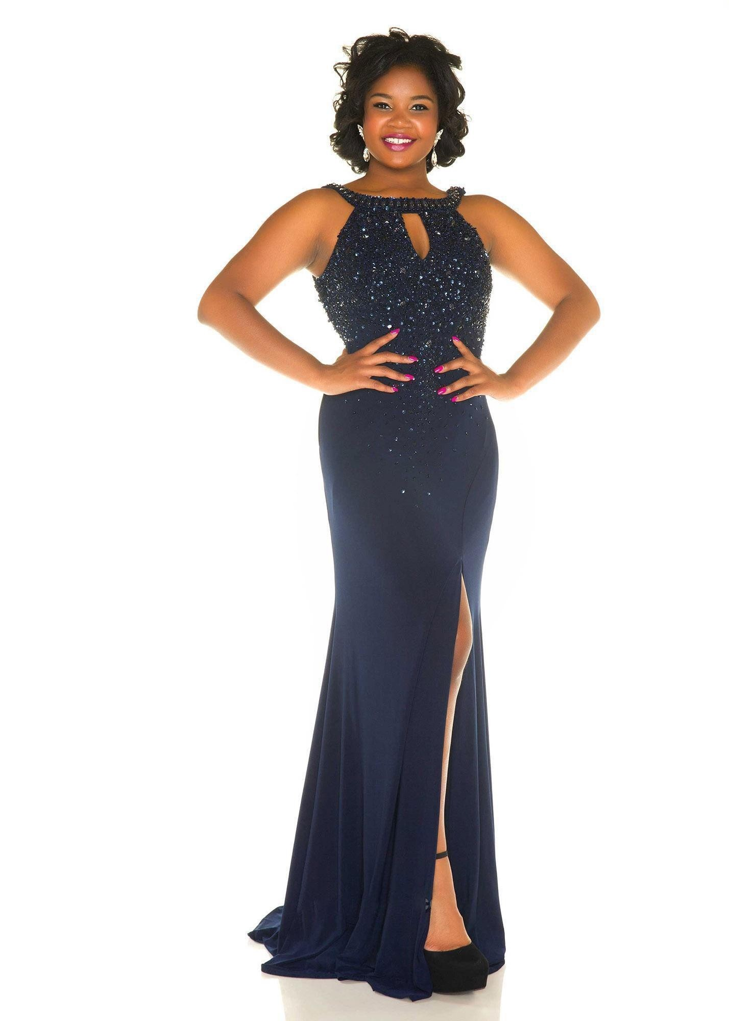 Mac Duggal 76996F Jeweled Halter Style Plus Size Prom Gown