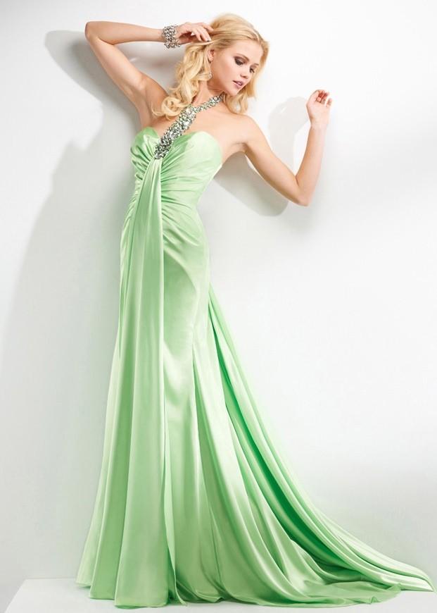 00d6c958221 Flirt P2668 - Green One Strap Beaded Prom Dress - RissyRoos.com