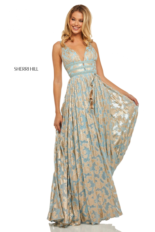 8c54667c4f68 Sherri Hill 52474 Metallic Print Chiffon Gown   RissyRoos.com