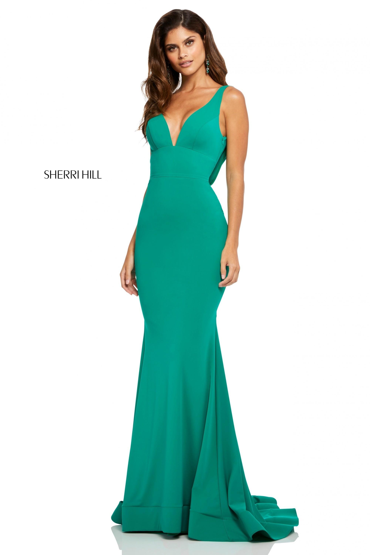 89dfc0b3779 Sherri Hill 52790 Draped Back Jersey Gown