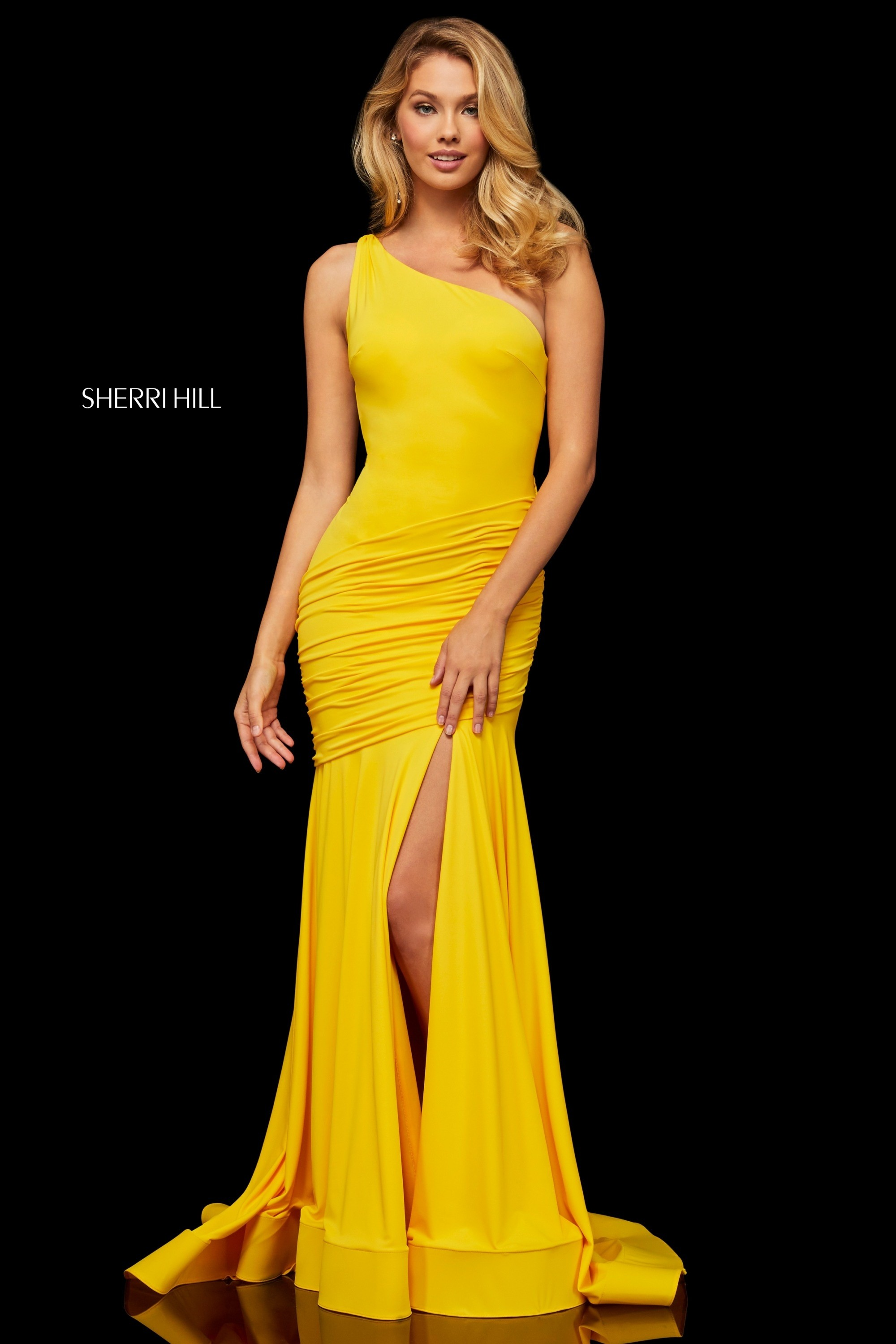 c59d37a0a9 Sherri Hill 52902 Ruched One-Shoulder Gown