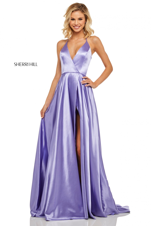 977b6d3db87ce Sherri Hill 52921 Satin V-Neck Halter Top Gown | RissyRoos.com