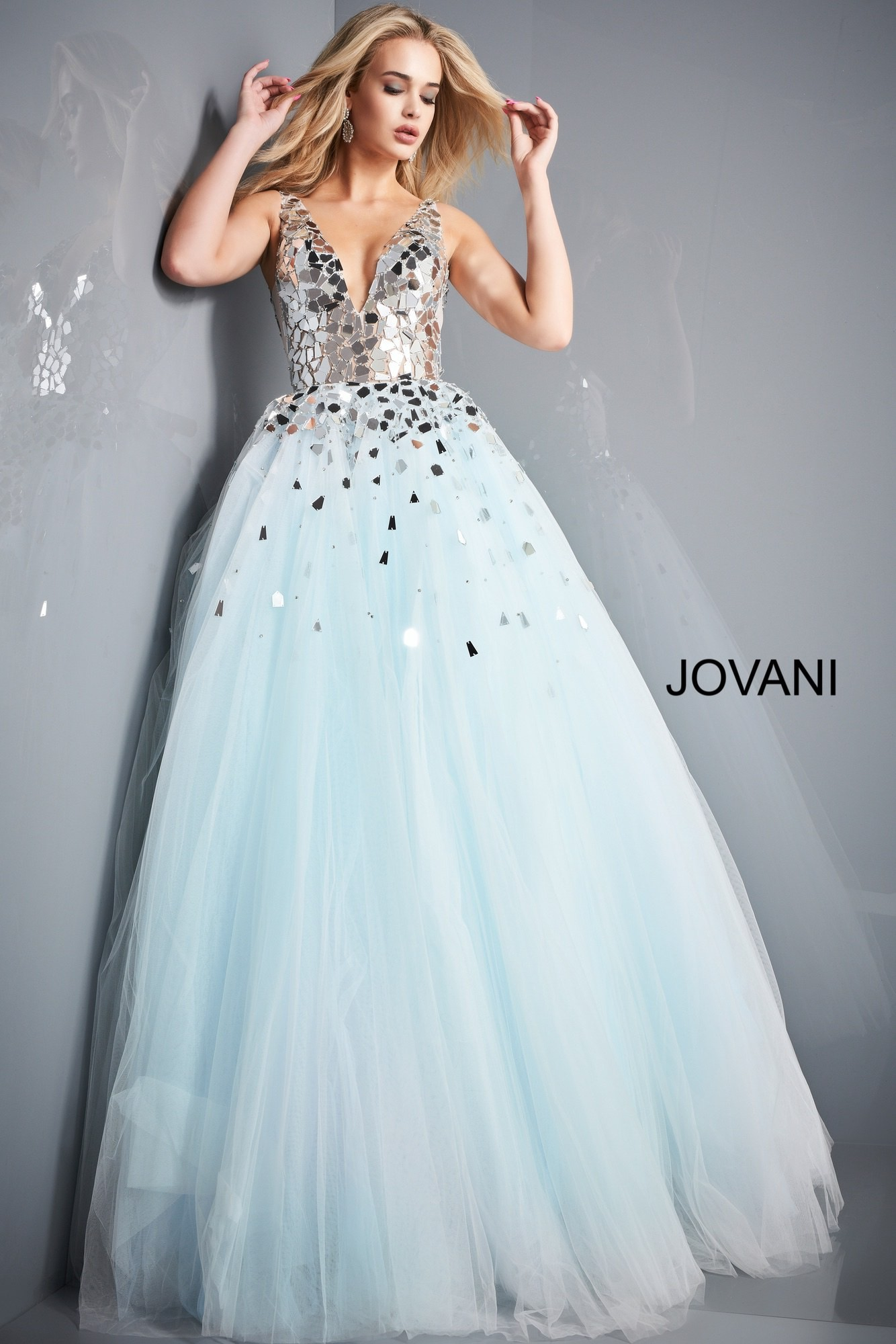 Jovani 00007 Light Blue Cut Glass Bodice Ball Gown