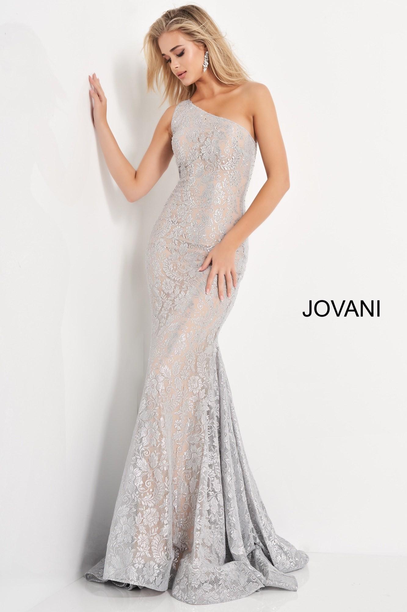 Jovani 00353 One Shoulder Lace Prom Dress