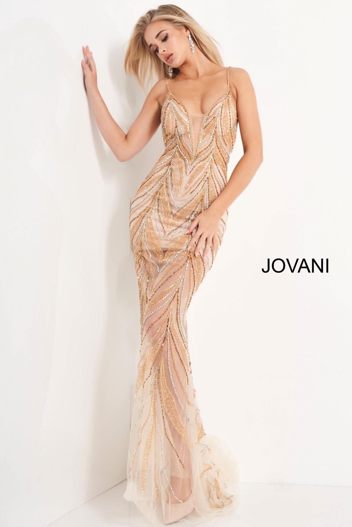 Jovani 00613 Plunge Neck Beaded Mesh Prom Dress