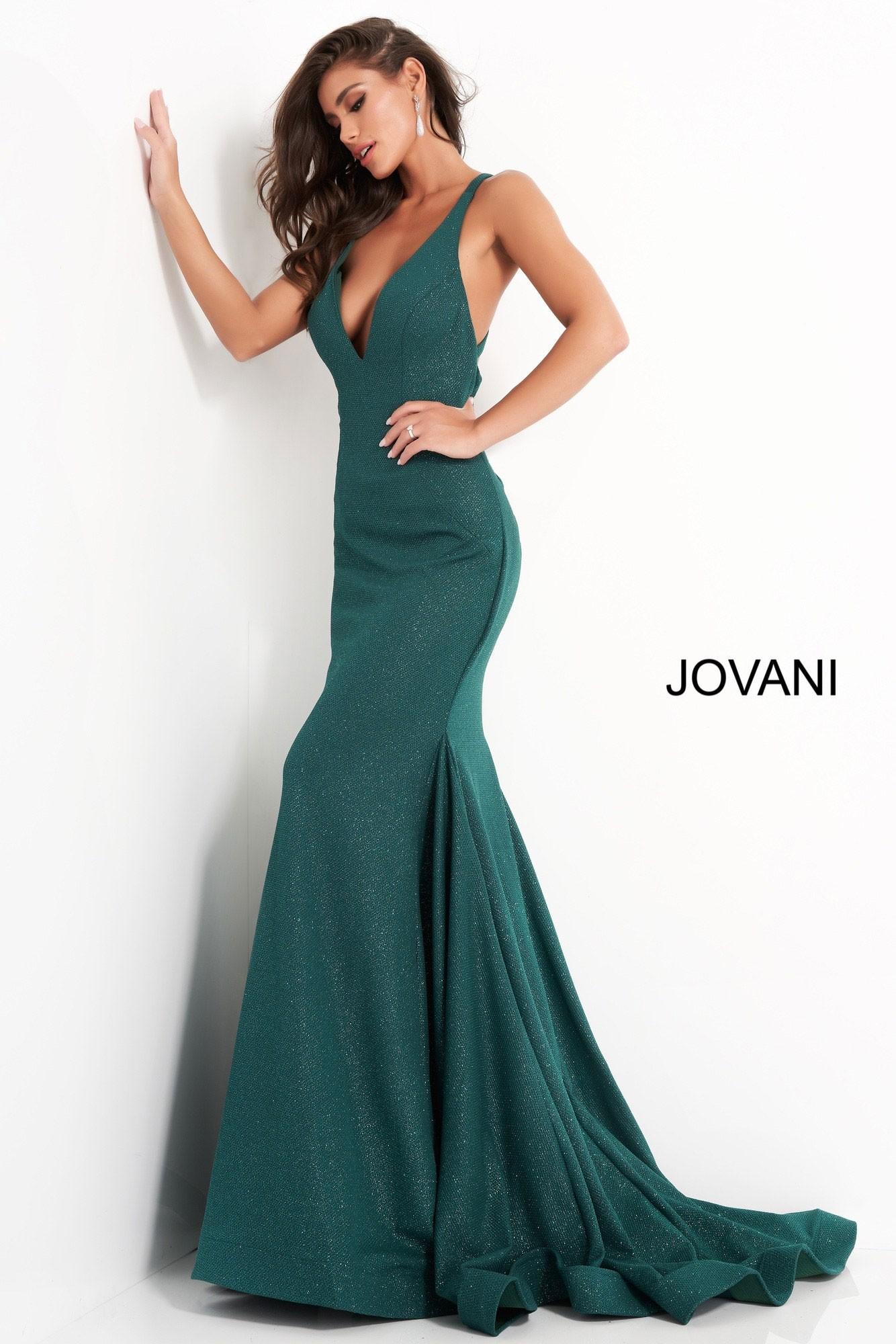 Jovani 00698 Criss Cross Back V-Neck Gown