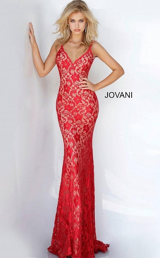 Jovani 00782 Backless Lace Prom Dress