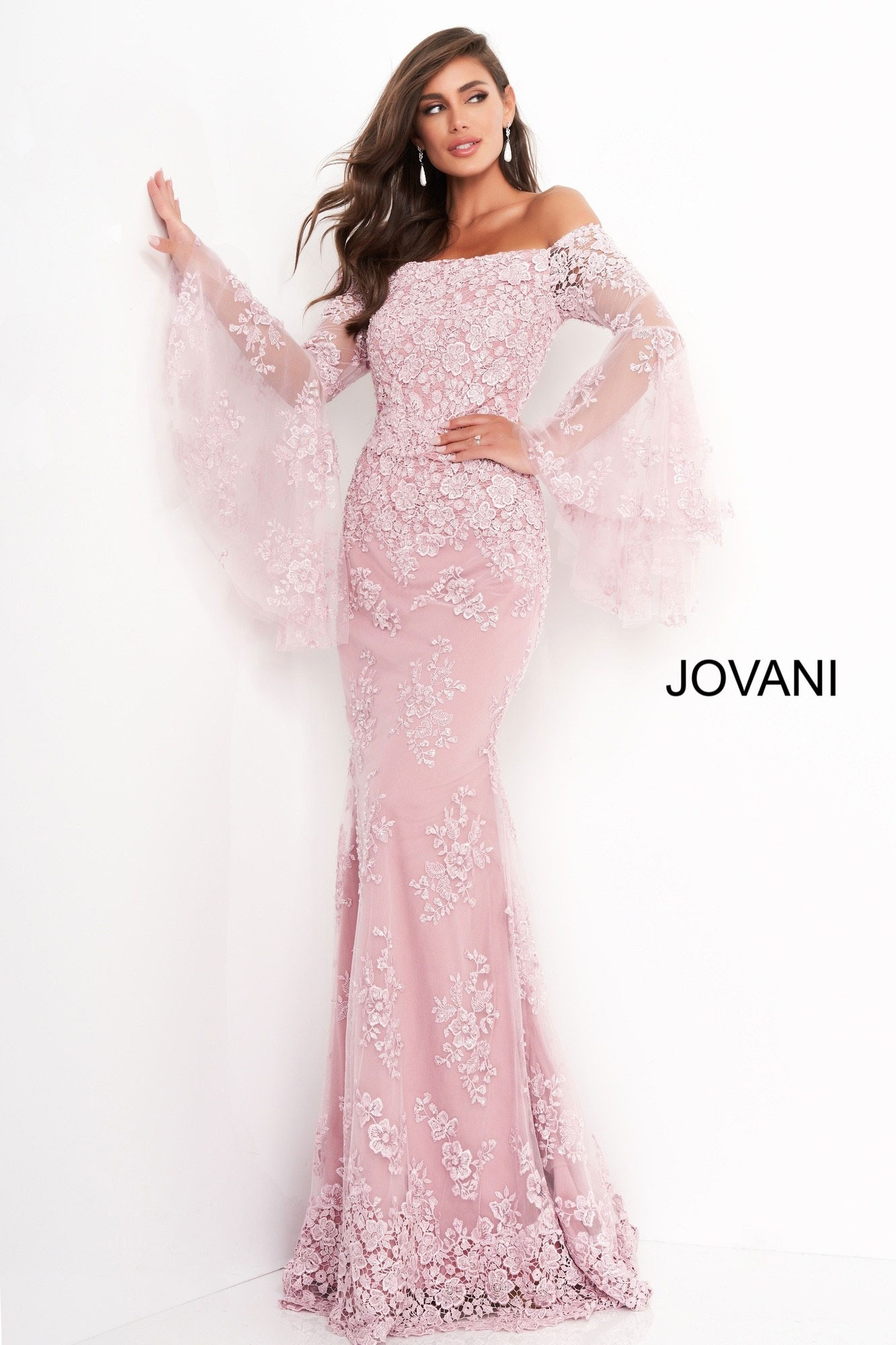 Jovani 02570 Bell Sleeve Lace Evening Dress