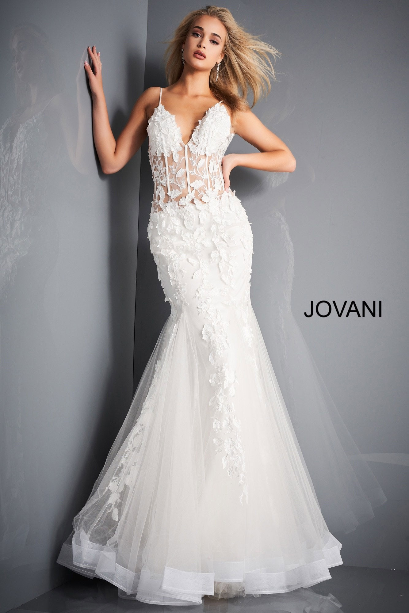 Jovani 02841 Floral Mermaid Informal Wedding Dress
