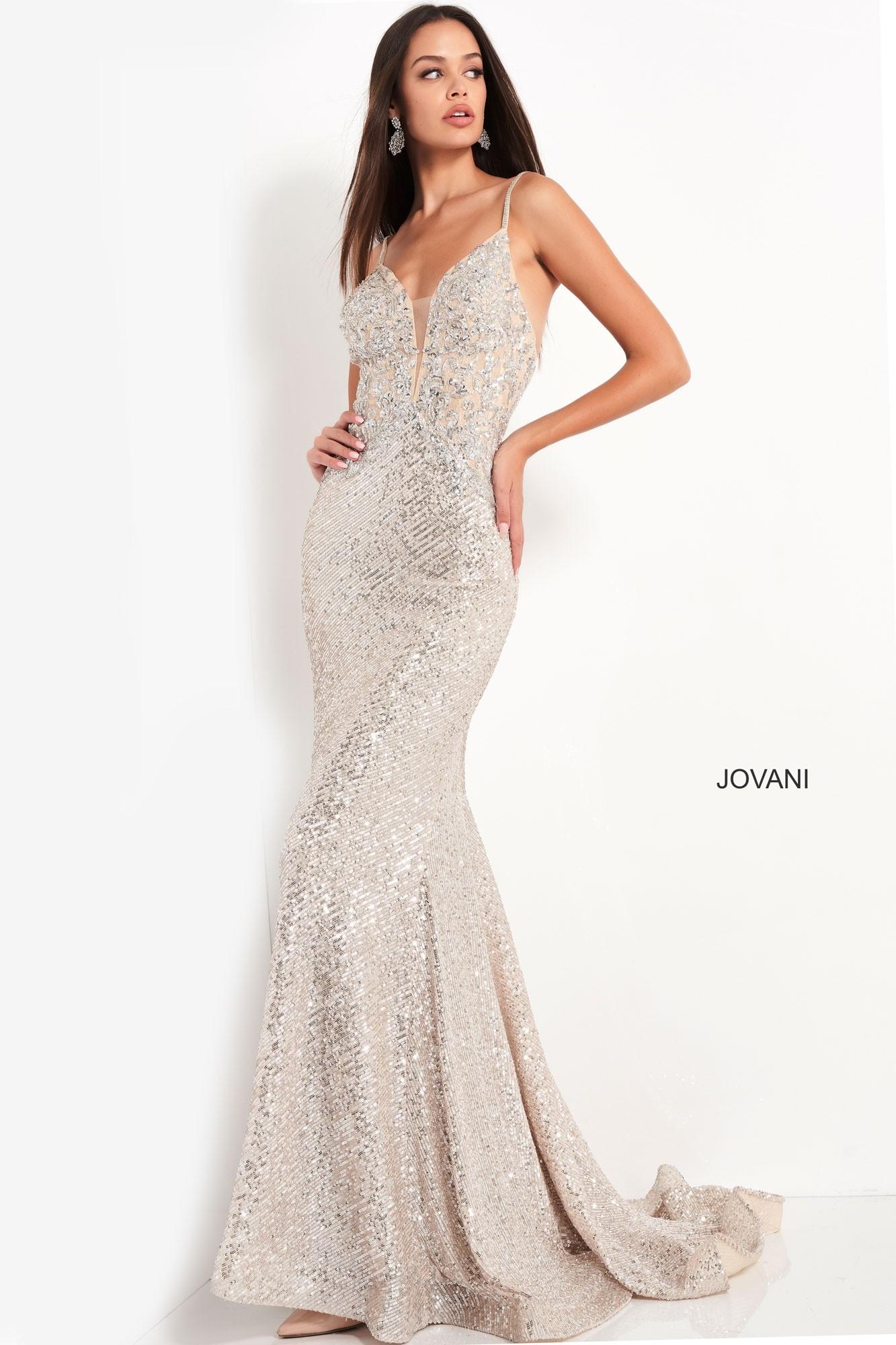 Jovani 05805 Silver Sequin Prom Dress