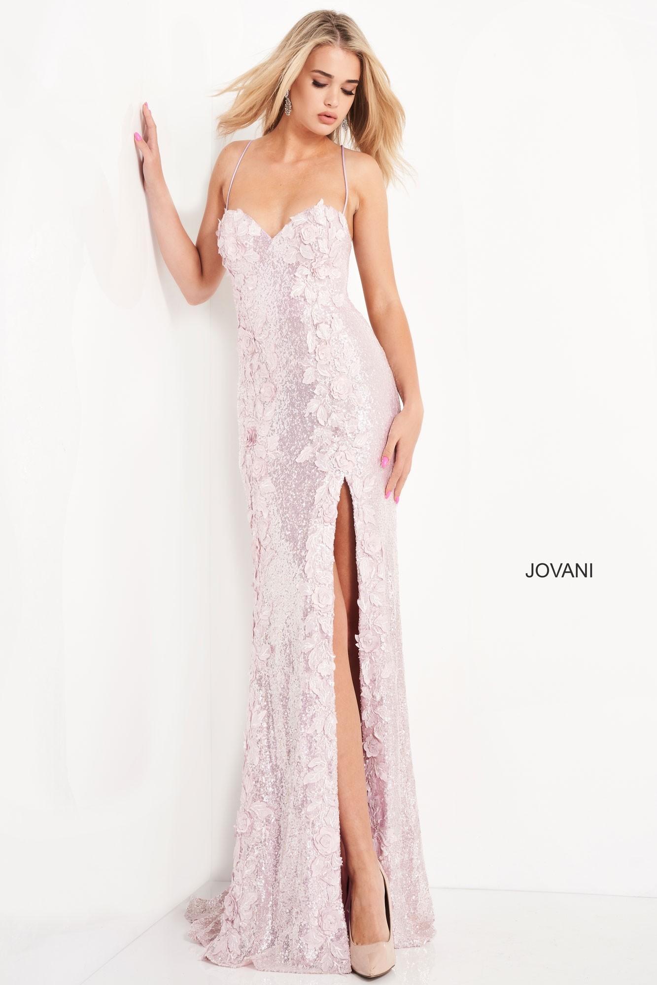 Jovani 06109 Sequin Floral Prom Dress