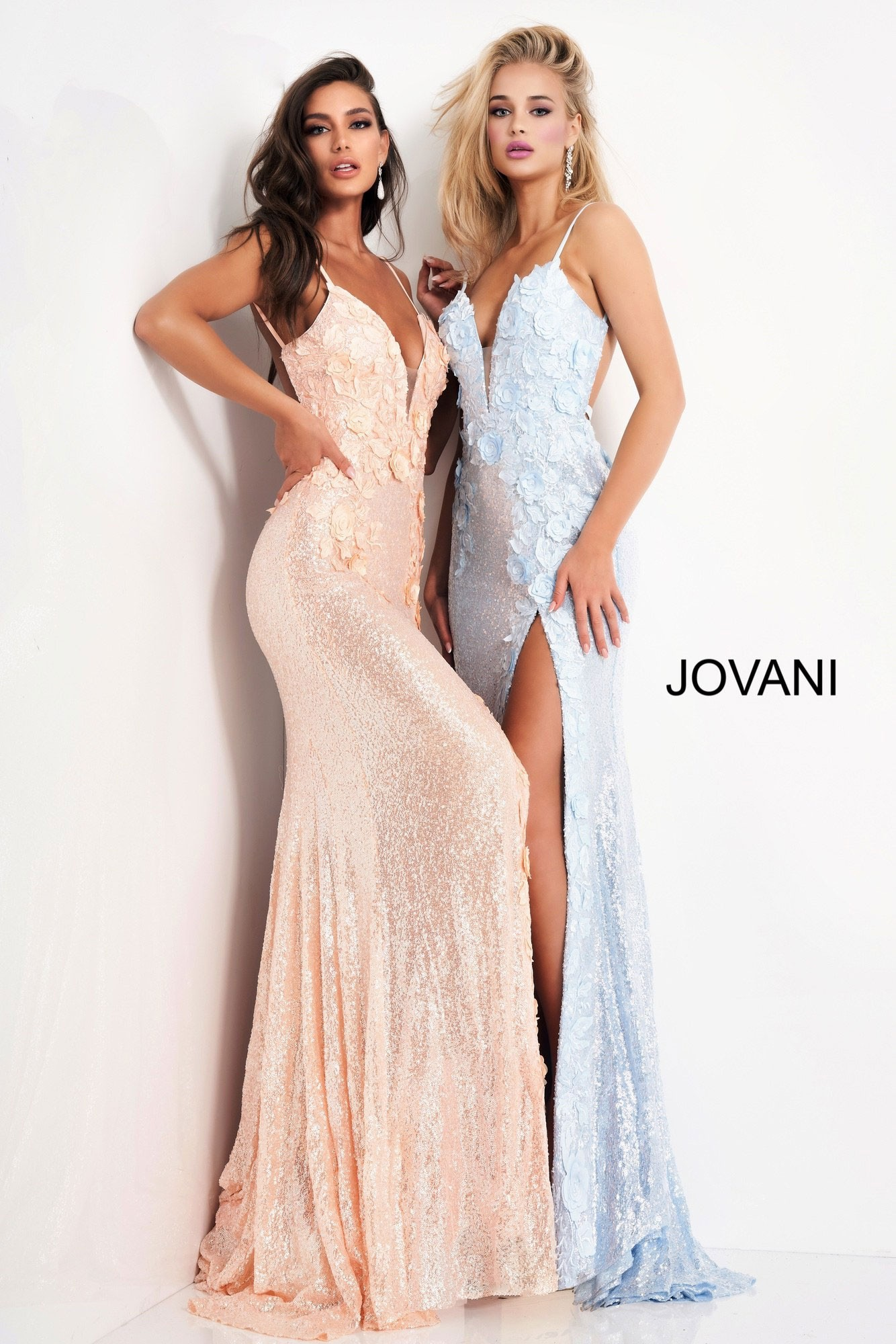 Jovani 1012 Floral Appliques Backless Prom Dress