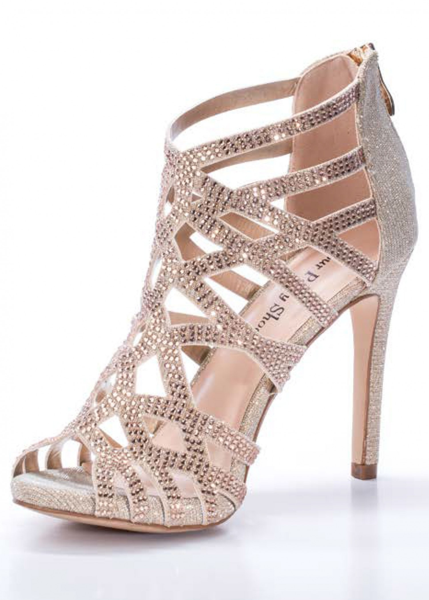 Your Party Shoes Pandora Rose Gold Jeweled Sandals
