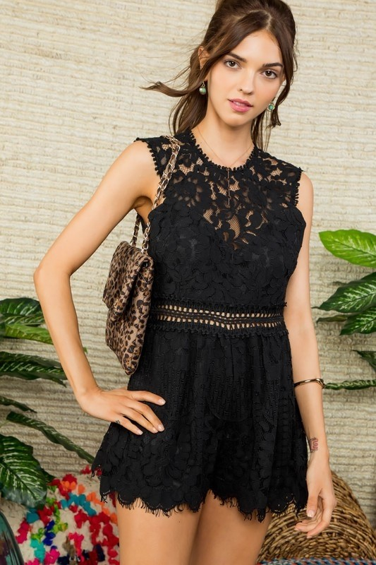 Black Crochet Lace Short Romper