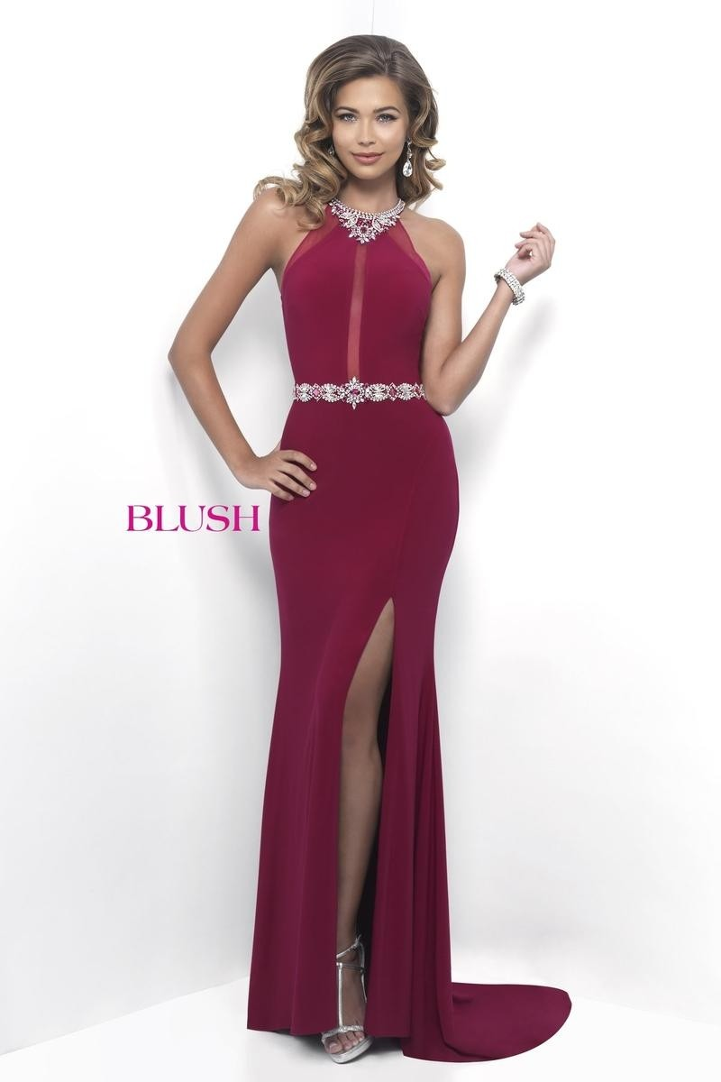 Blush Prom 11264 Jeweled Fitted Jersey Gown with Slit