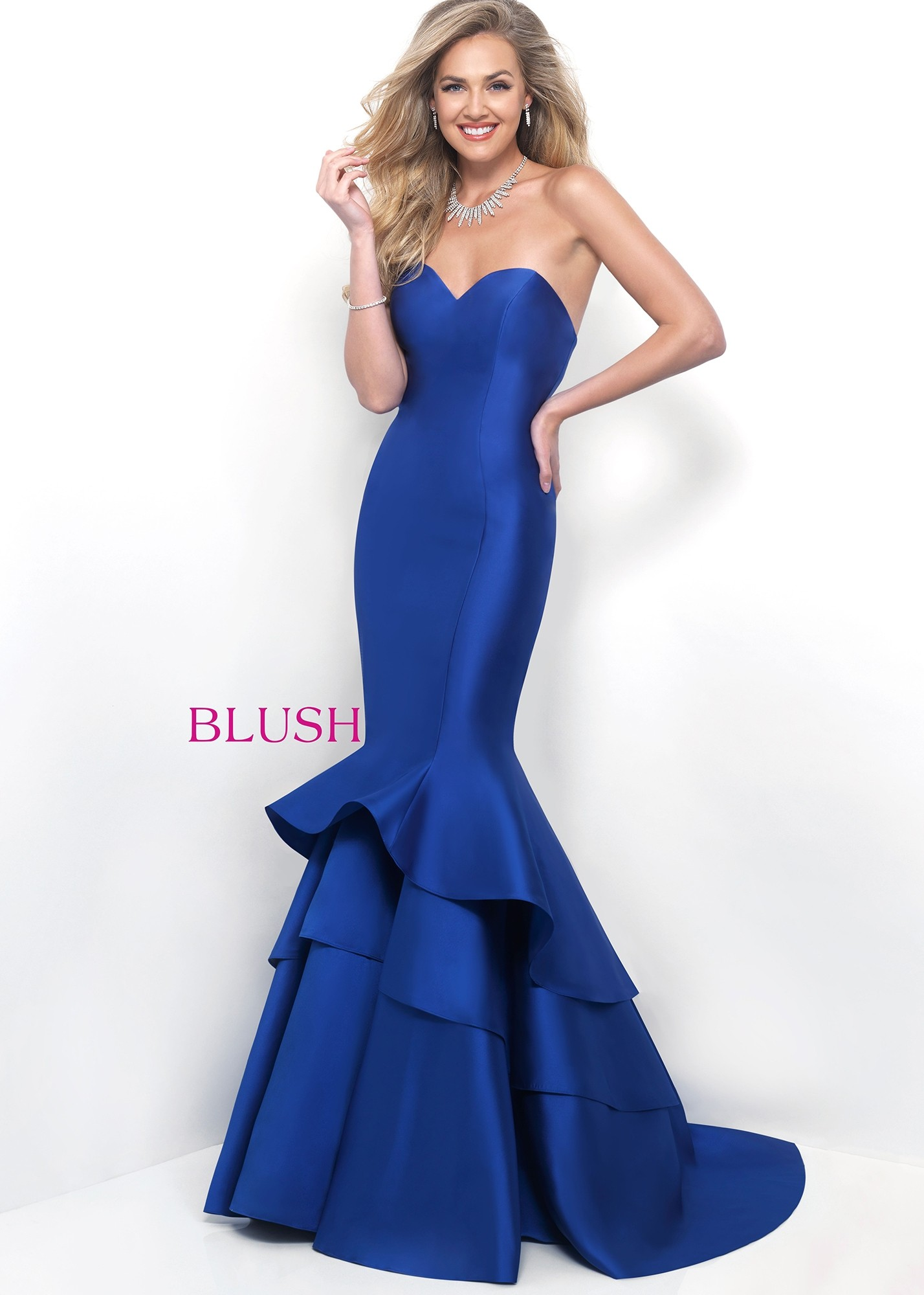 Blush TOO 11320W Ruffled Mermaid Evening Gown