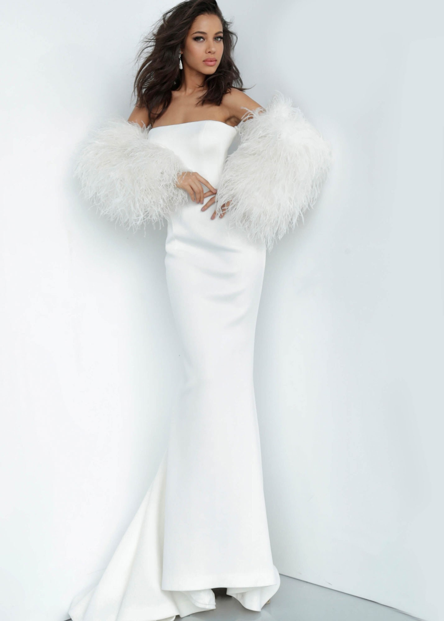 Jovani 1226 Strapless Gown with Fur Sleeves