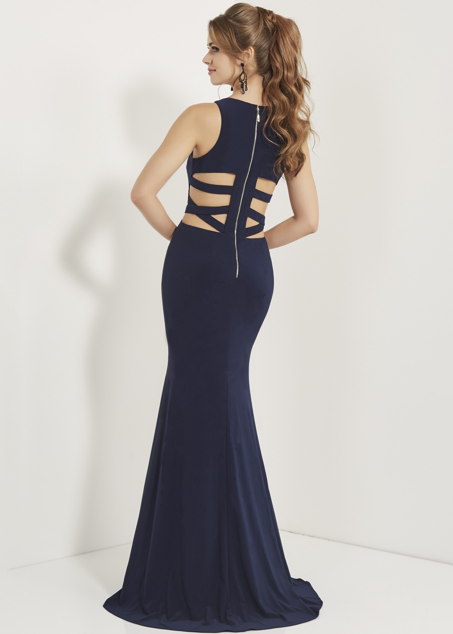 Studio 17 12740 High Neck Jersey Gown with Cutouts