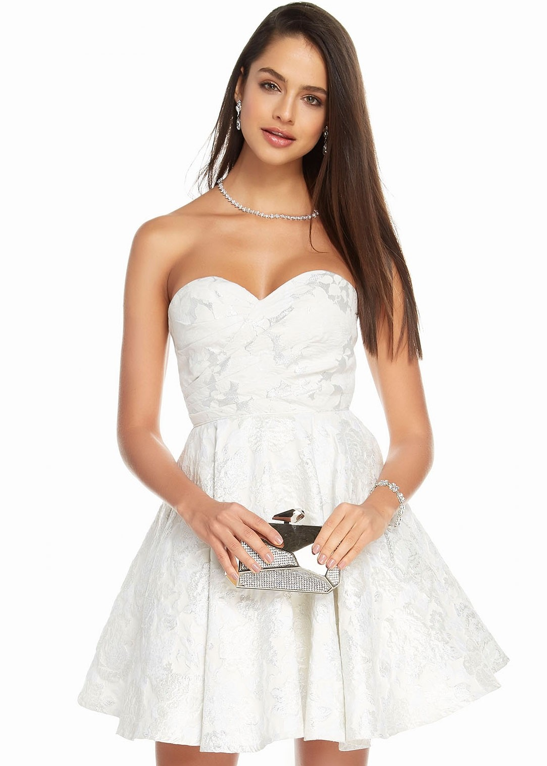 Alyce 1446 Strapless Floral A-Line Dress
