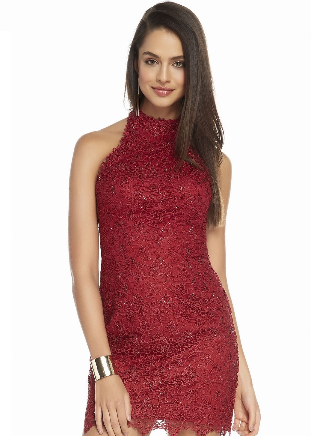 Alyce 1475 High Neck Fitted Lace Short Dress
