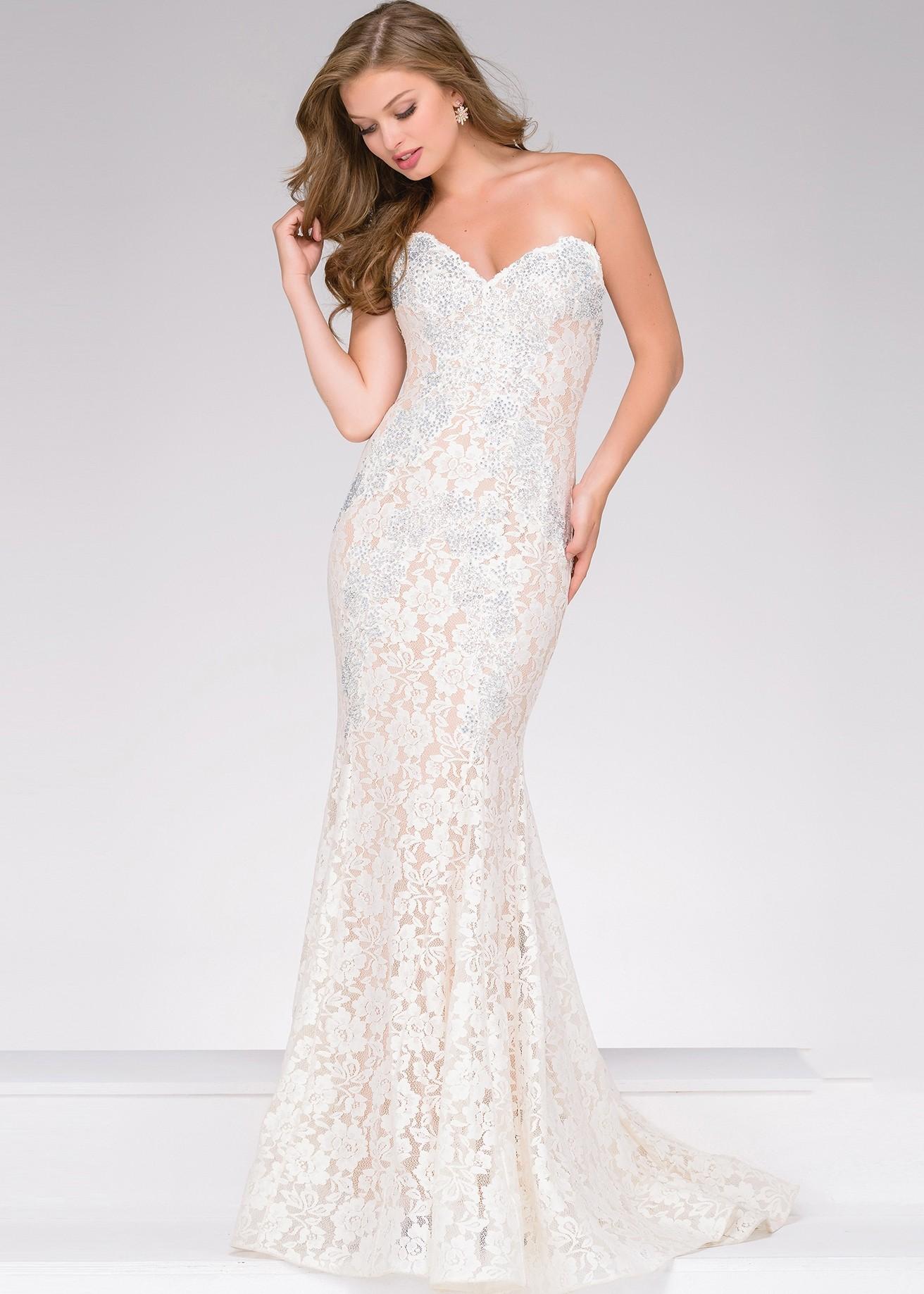 Jovani 37334 Strapless Jeweled Lace Formal Dress