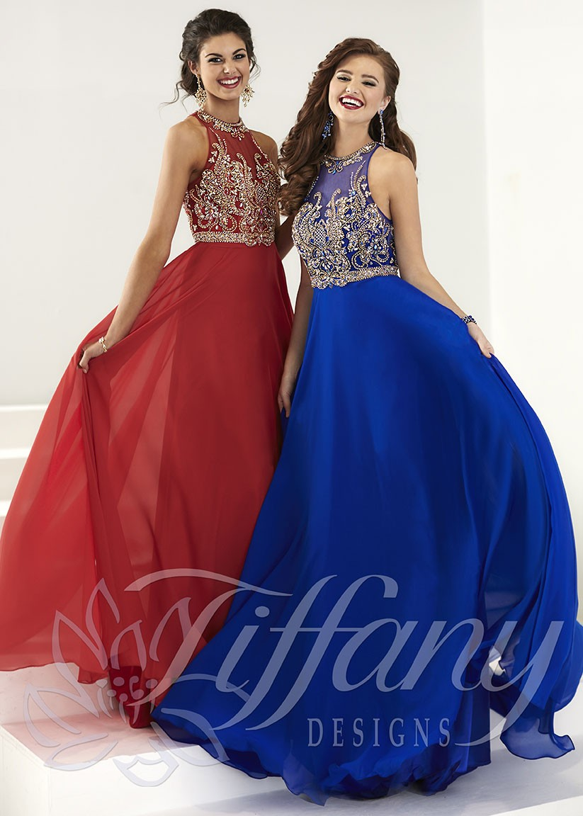 Tiffany Designs 16166 Regal A-Line Silky Chiffon Gown