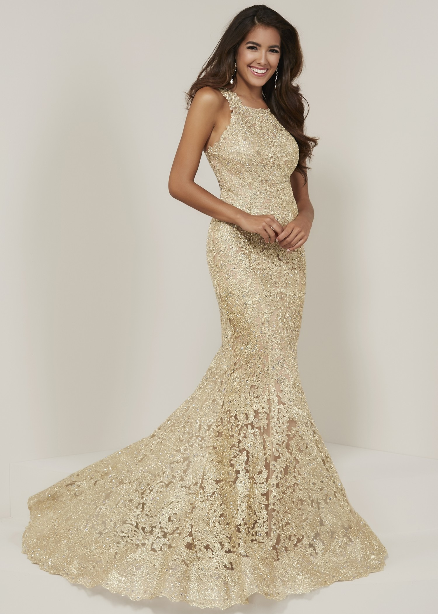 Tiffany Designs 16329 Lace Racerback Mermaid Gown