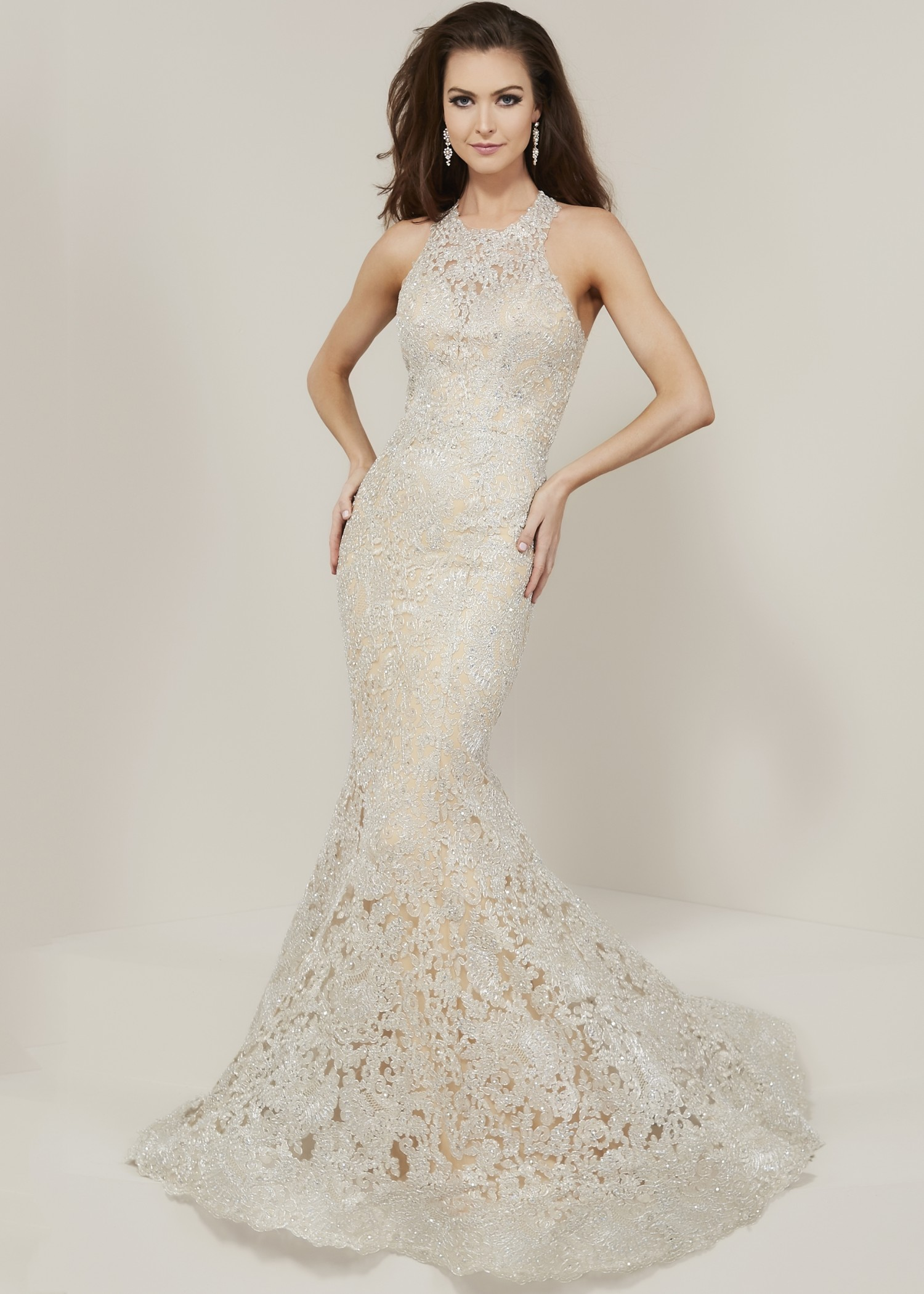 Tiffany Designs 16329 Lace Racerback Dress
