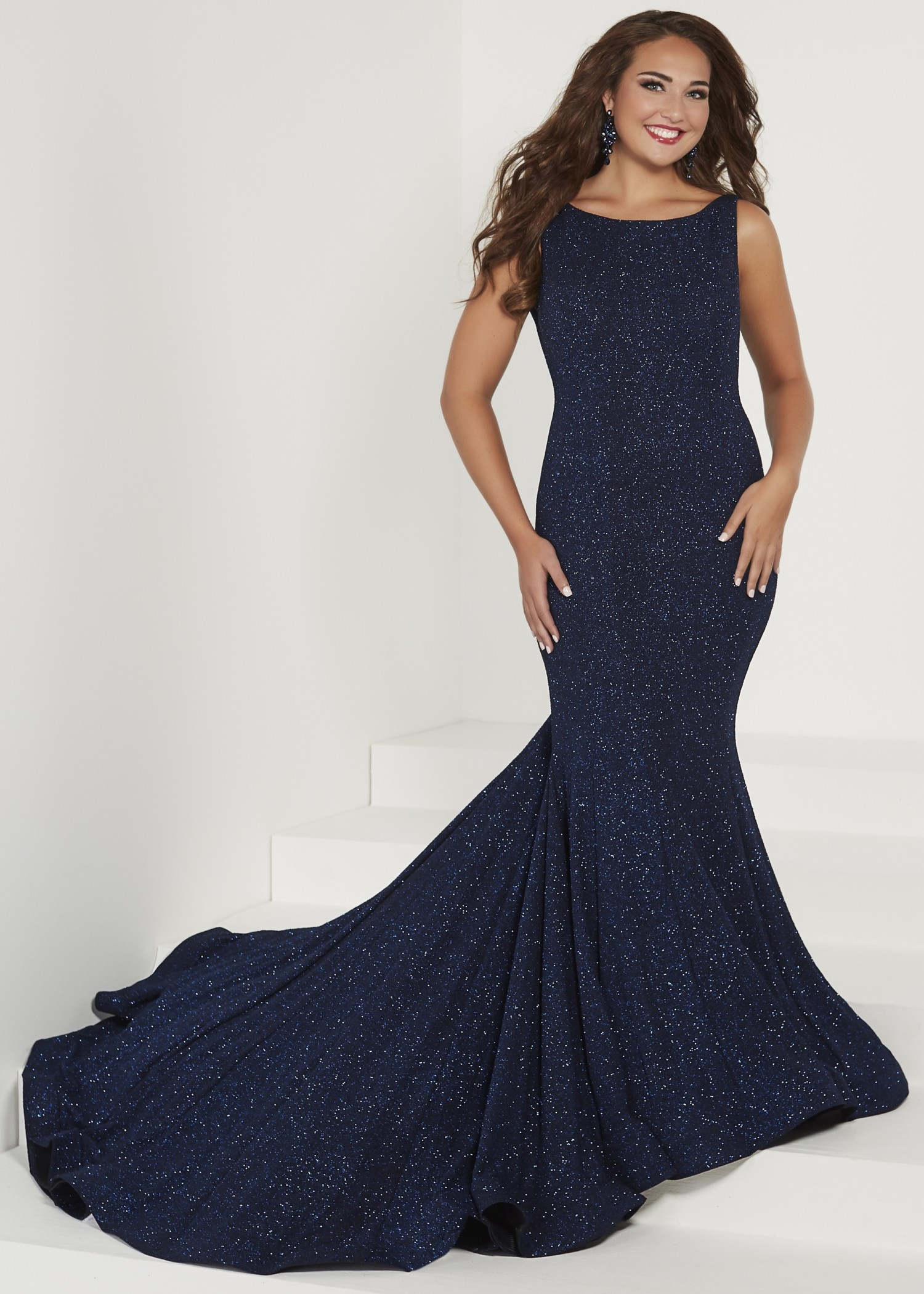 Tiffany Designs 16377 Glitter Jersey Mermaid Gown