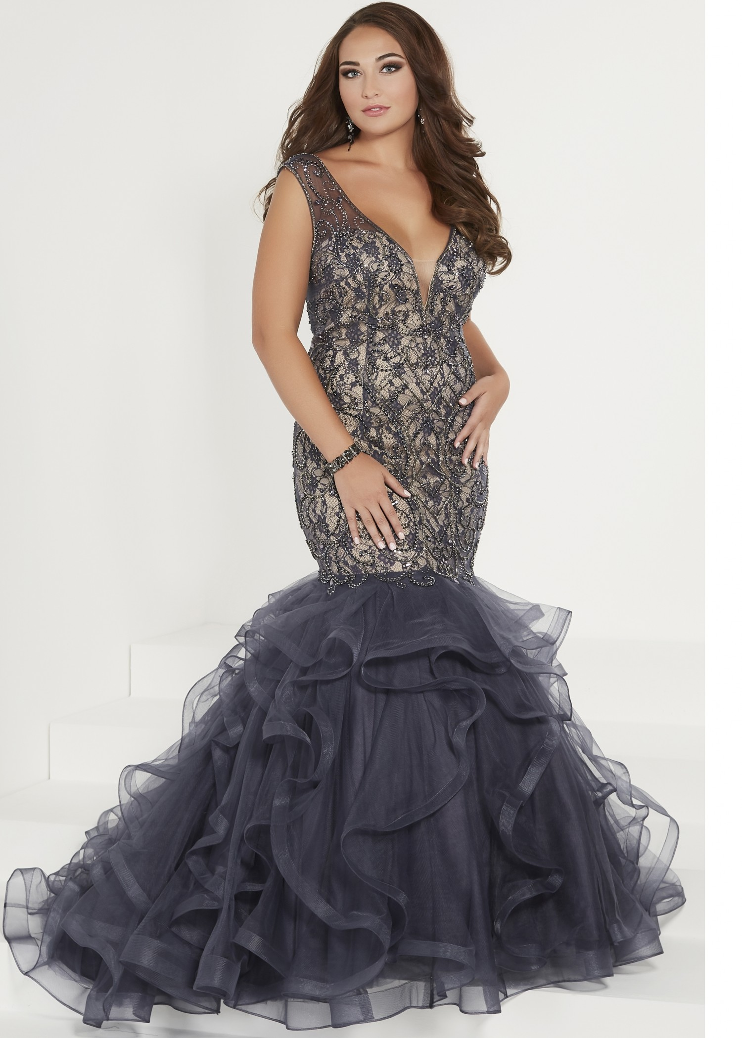 Tiffany Designs 16382 Open Back Mermaid Gown