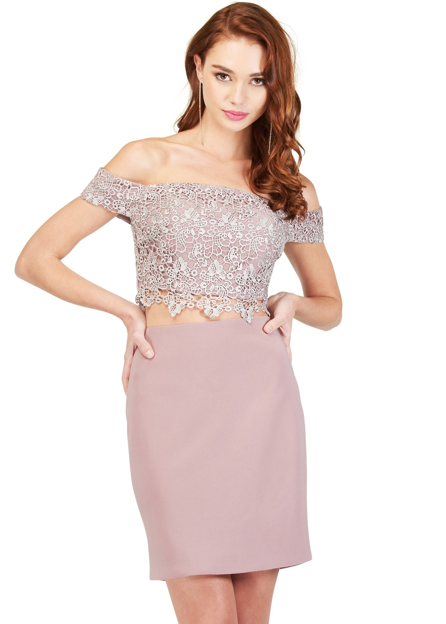 Cecilia Couture 1804 Lace Jersey Two-Piece Dress