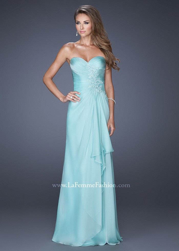 La Femme 20479 Strapless Lace Adorned Chiffon Gown